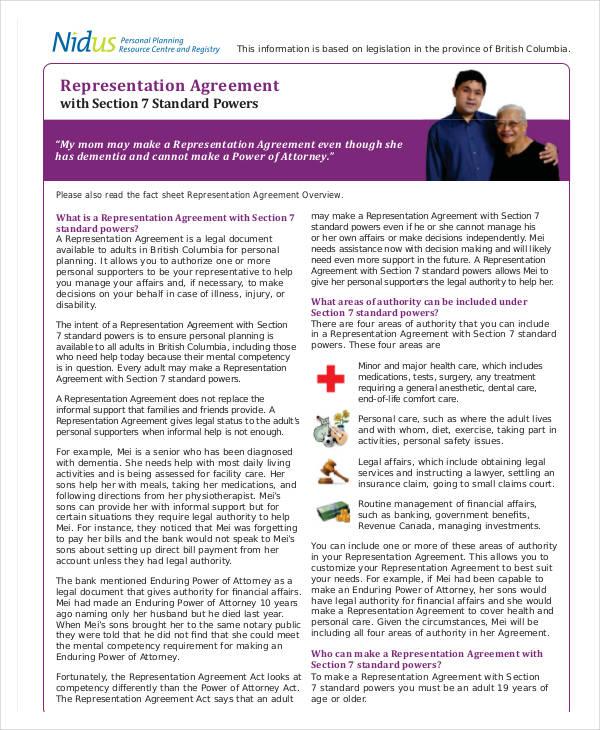 sample representation agreement