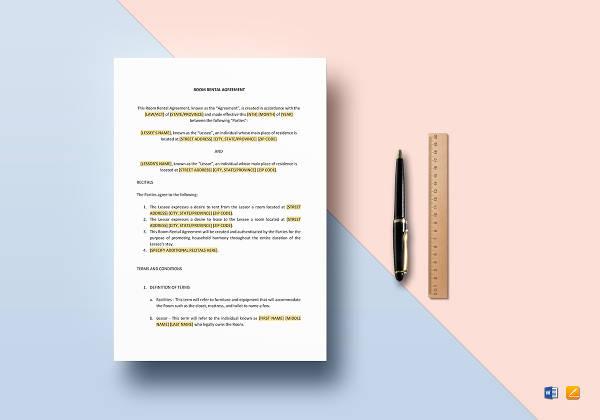 sample room rental agreement template1