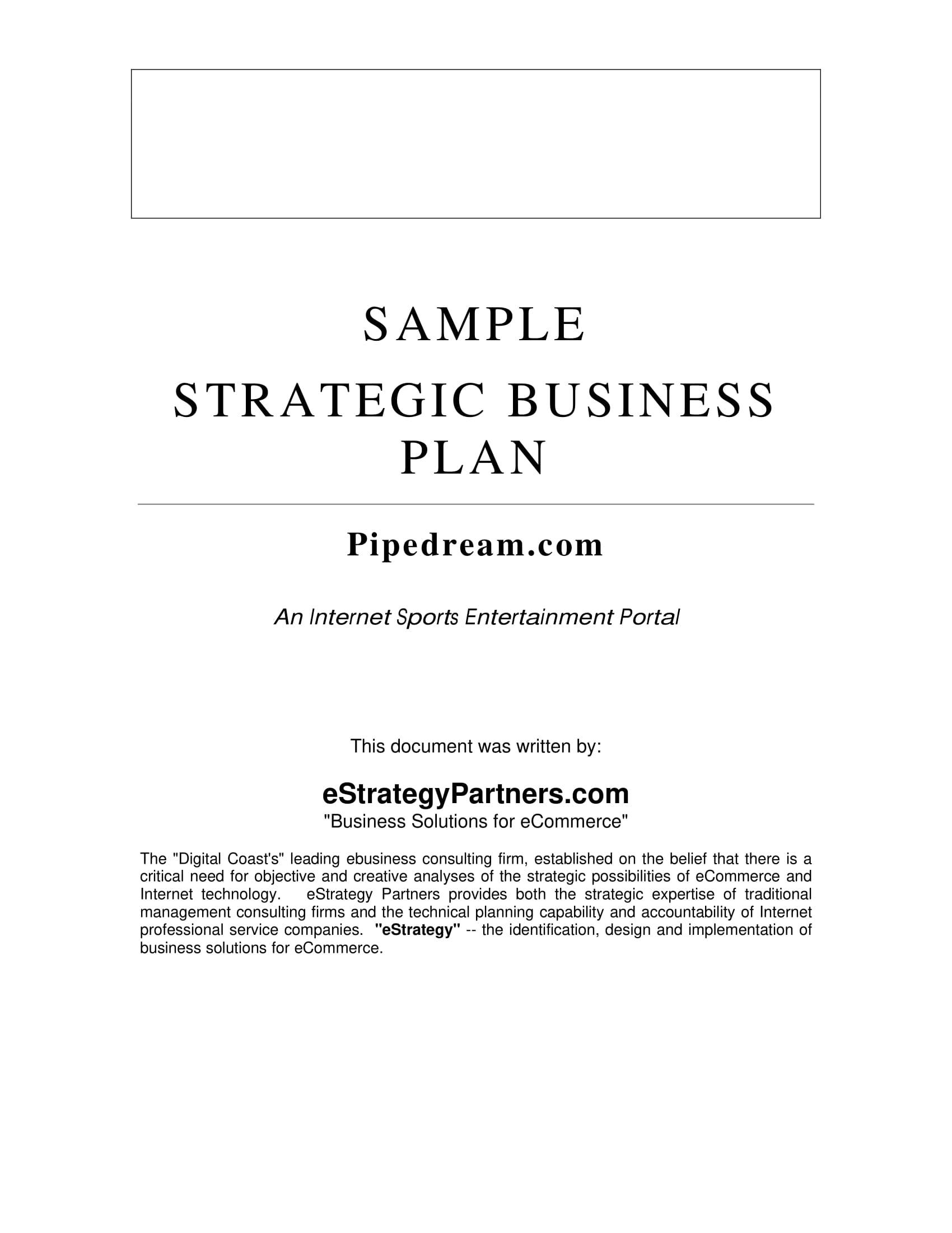 sample sales strategic plan