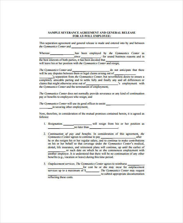 7 Sample Severance Agreement Templates Pdf Free Premium Templates