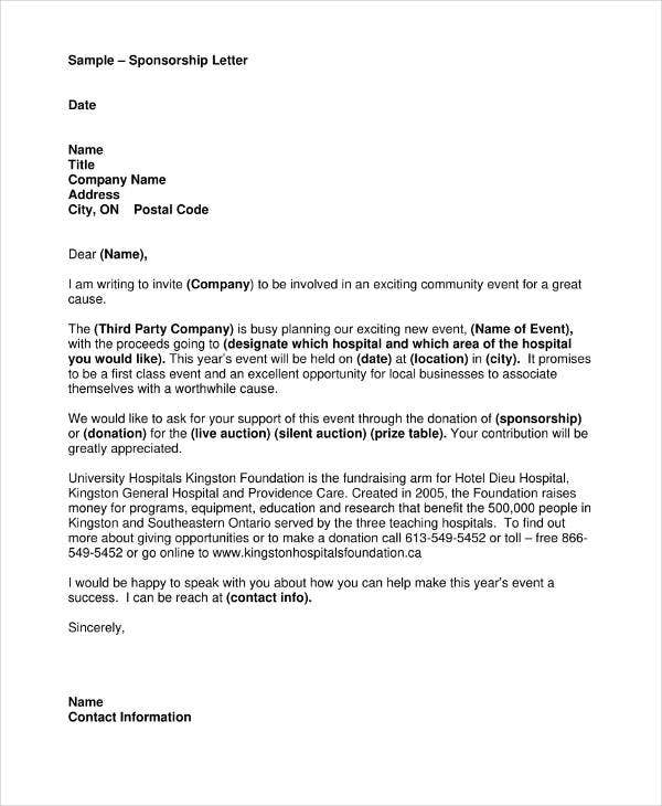Sample Sponsorship Letter