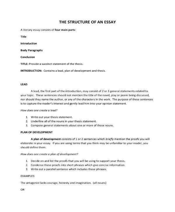 sample structure of an essay