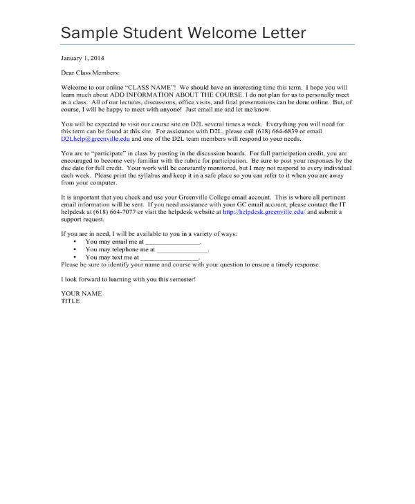 sample student welcome letter