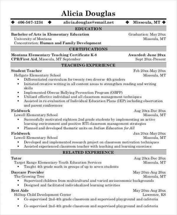 10  teacher resume templates in pdf format