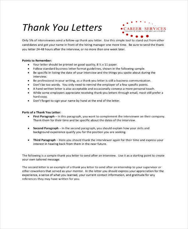 sample thank you letter example
