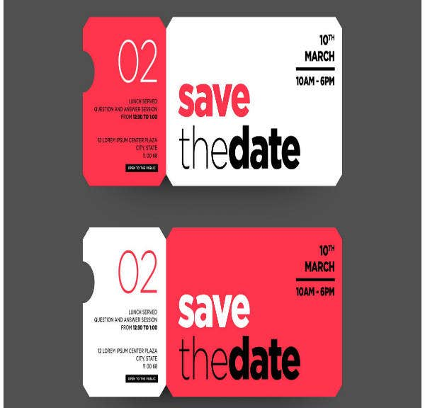 save the date wedding ticket invitation