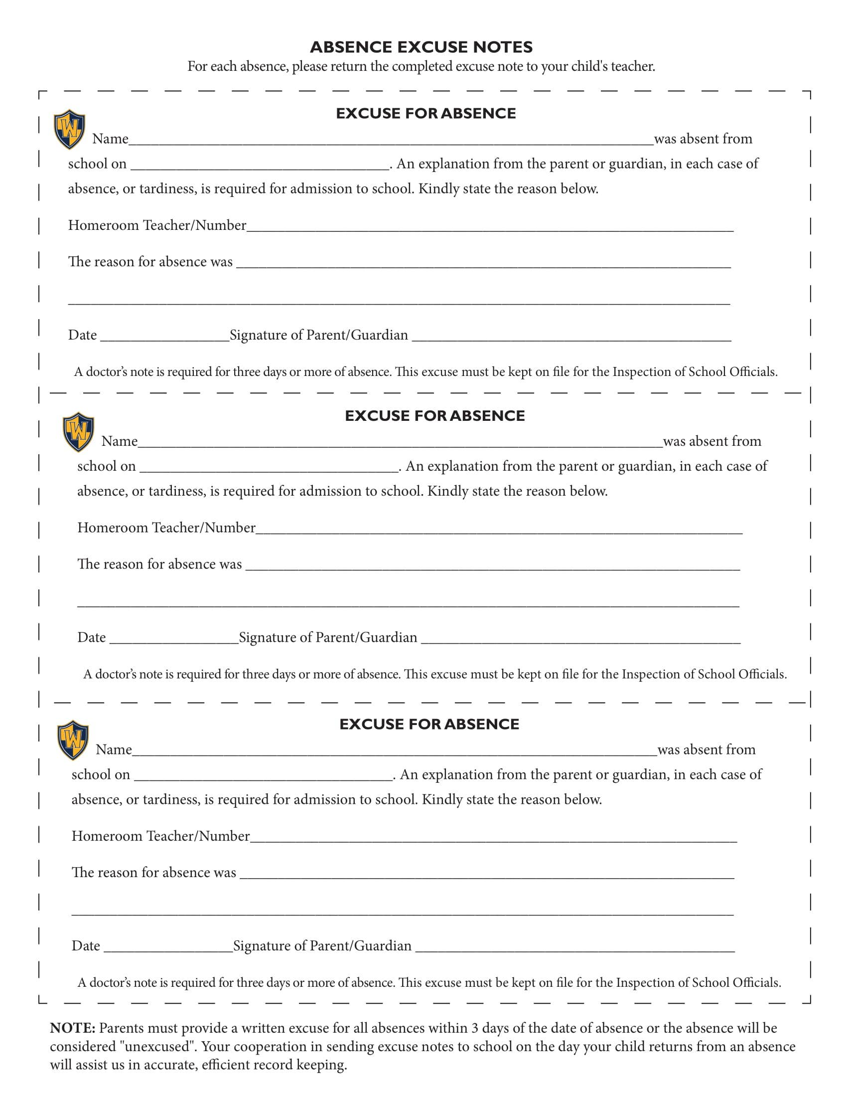 8 school excuse note templates pdf free premium for School absence note template free