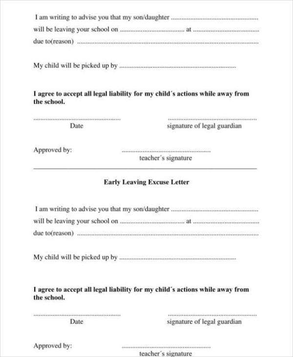 School Excuse Note template for Leaving Early