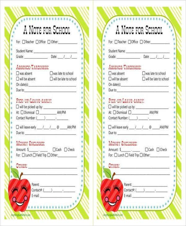 school-note-sample-template
