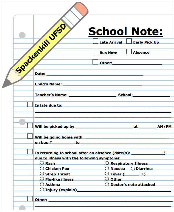 school note for absence