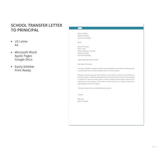 school transfer letter to principal