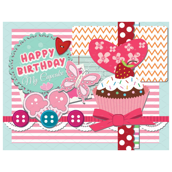 Scrapbook Style Personalized Birthday Card Template