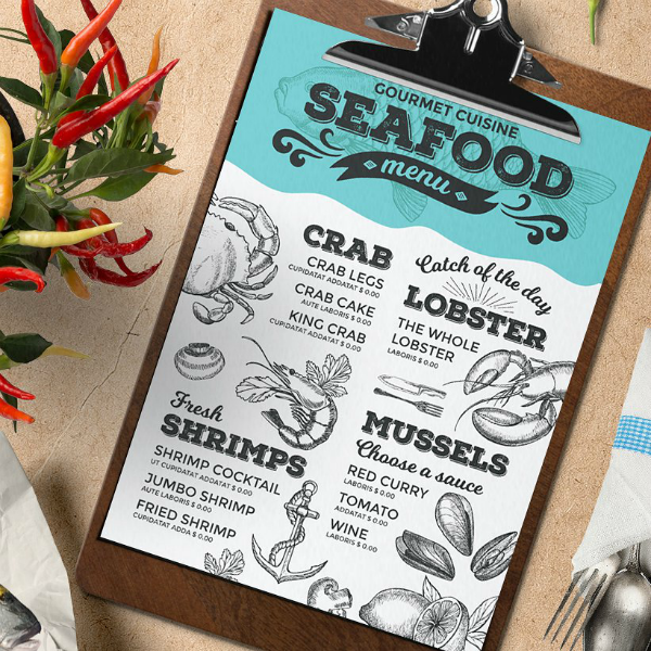 Seafood Dishes Printable Menu Card Template