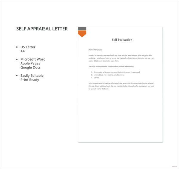 self appraisal letter template