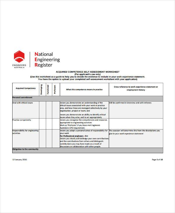 self competence assessment worksheet