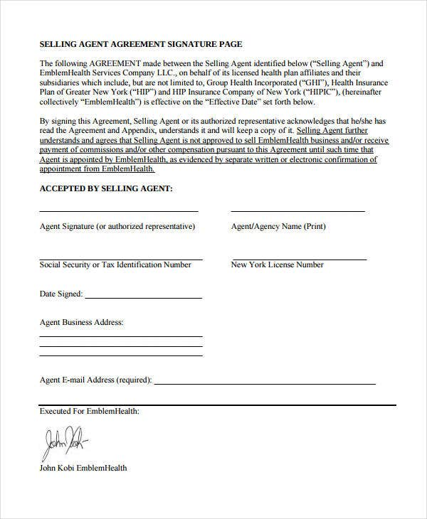 selling agent agreement