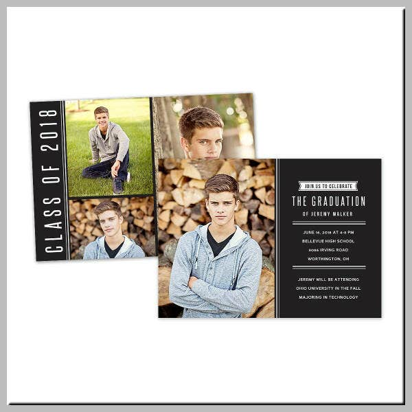 Senior Graduation Invitation Postcard Template