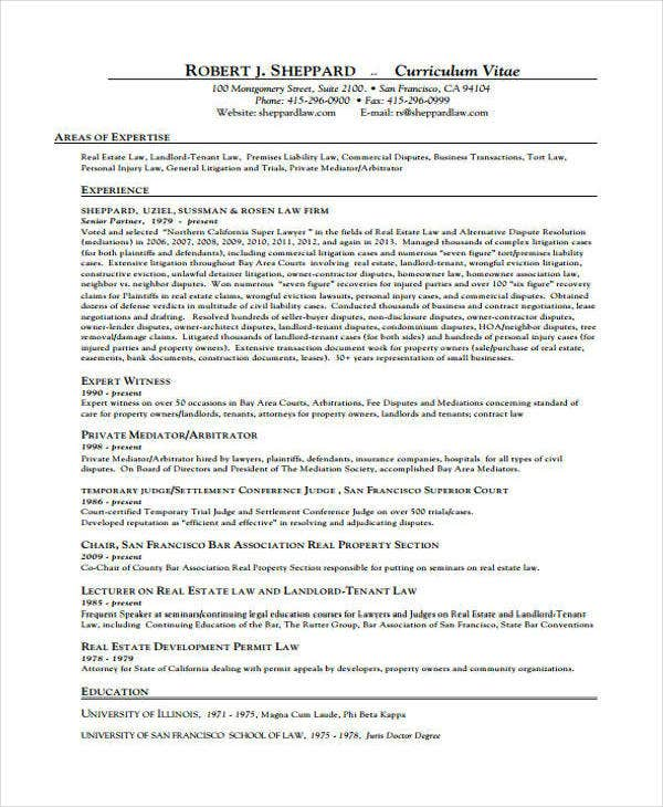 Senior Lawyer CV Example
