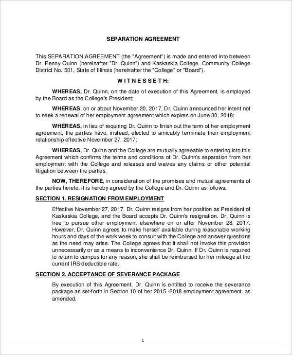 separation agreement format