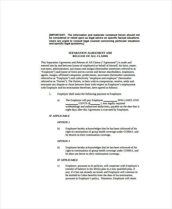 Separation Agreement Sample