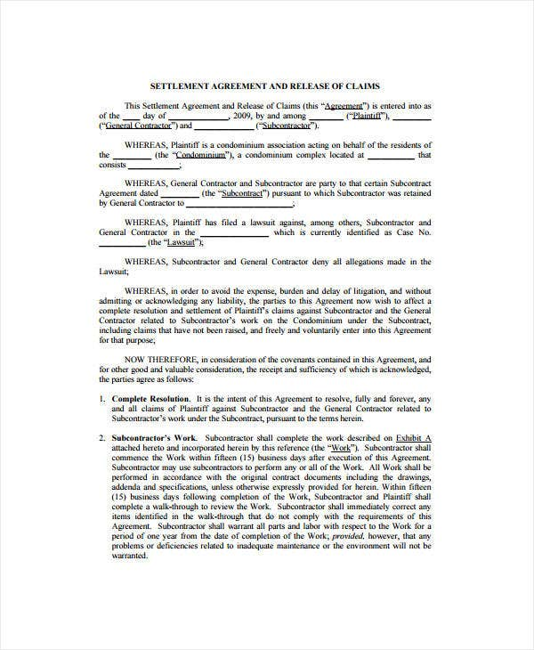 Settlement Agreement Template Sample