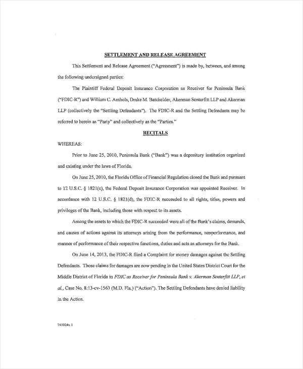 settlement and release agreement sample