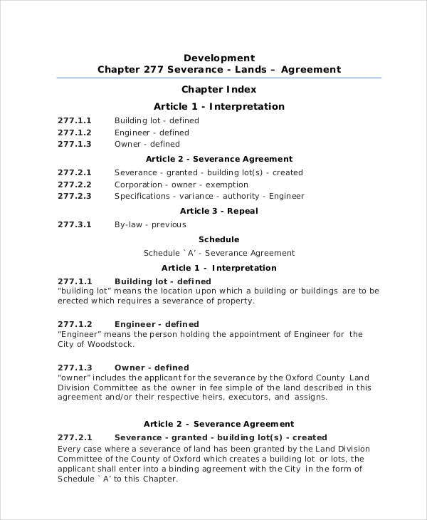 11 Sample Severance Agreement Templates Pdf Doc Free Premium