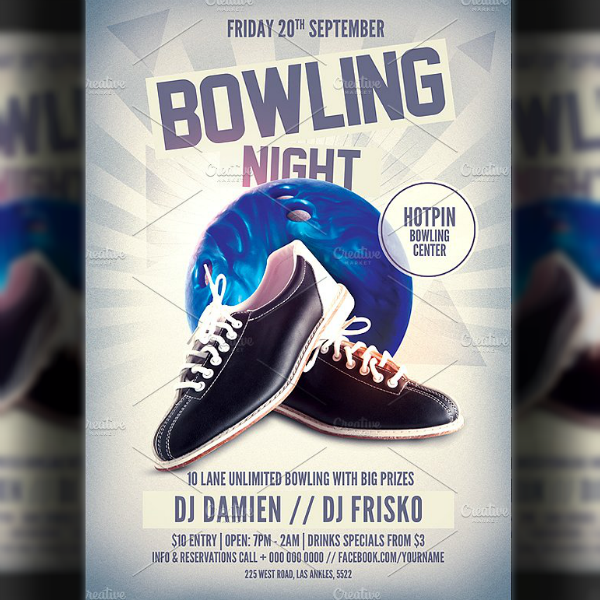 shoes bowling night flyer invitation template