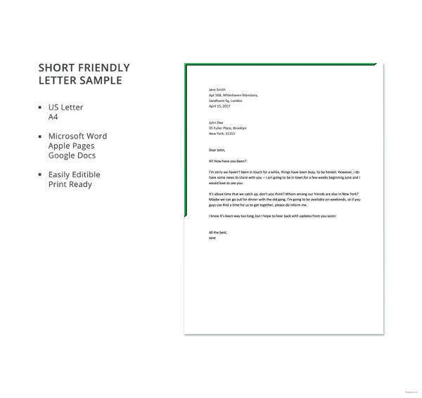 short friendly letter sample