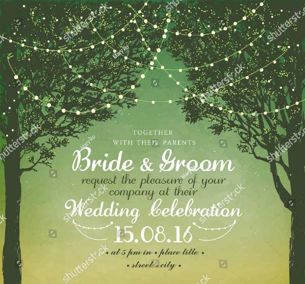 Silhouette Style Garden Wedding Invitation