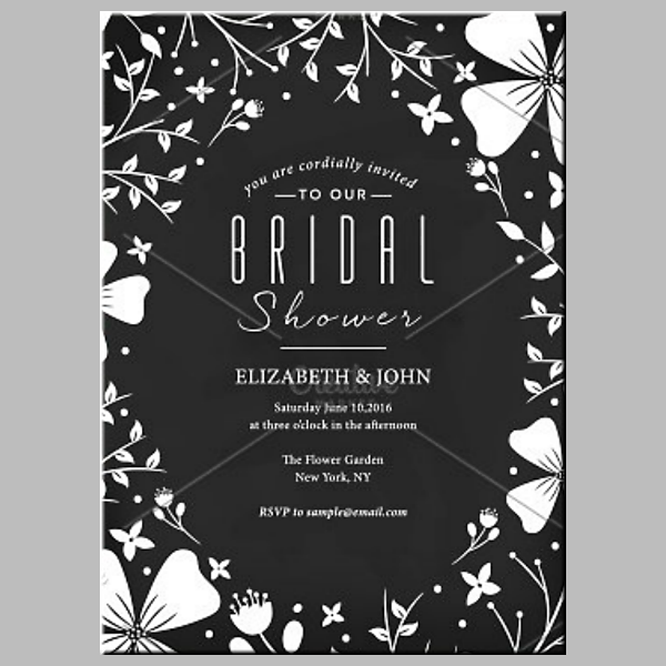Simple Achromatic Modern Bridal Shower Card
