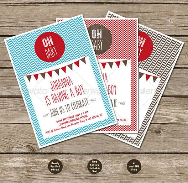 Simple Boy Baby Shower Invitation