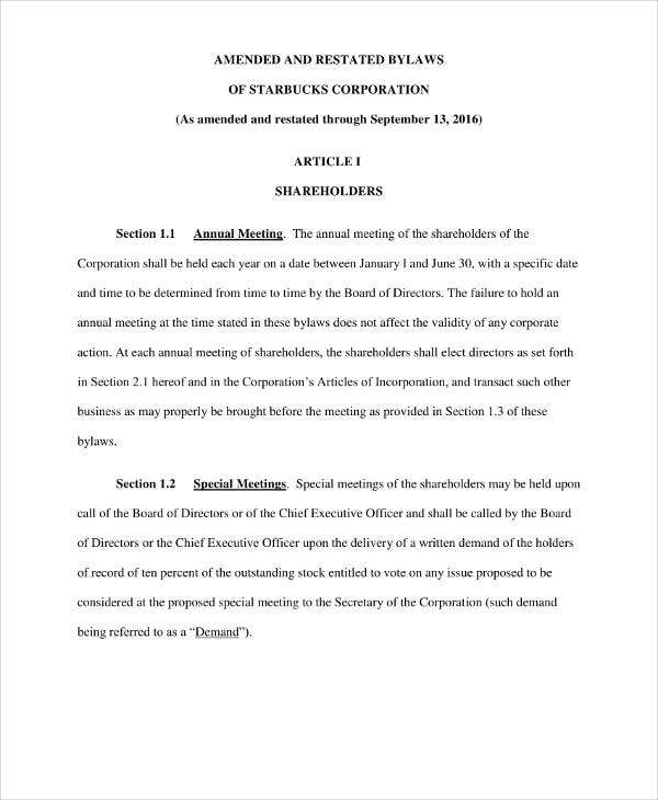 corporate bylaw template - 9 free corporation bylaws templates pdf free