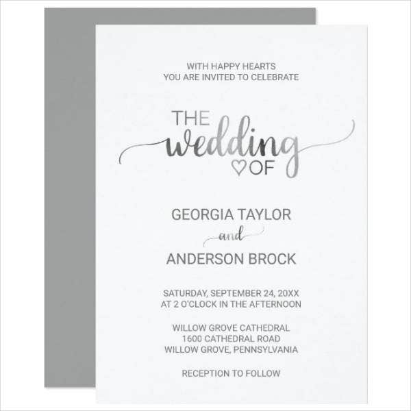 simple foil calligraphy wedding card