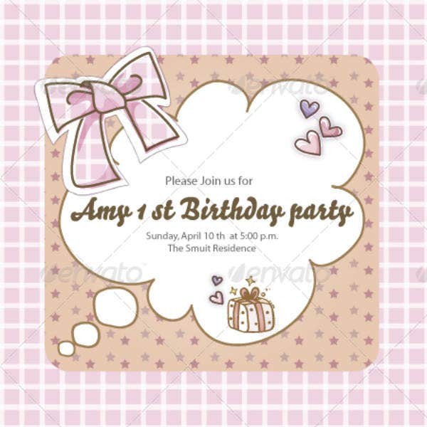 Simple Girls Birthday Card Template