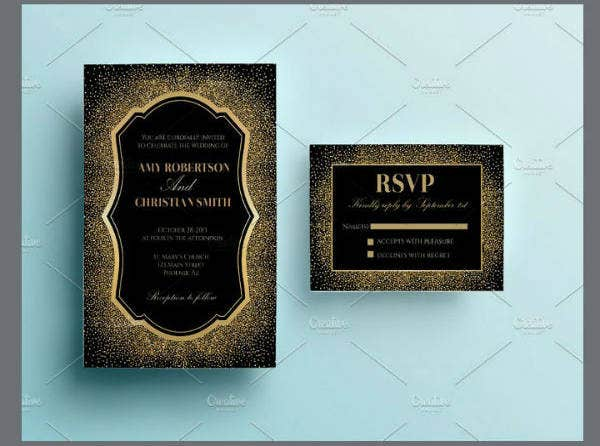 Simple Gold Glitter Wedding Invitation Template