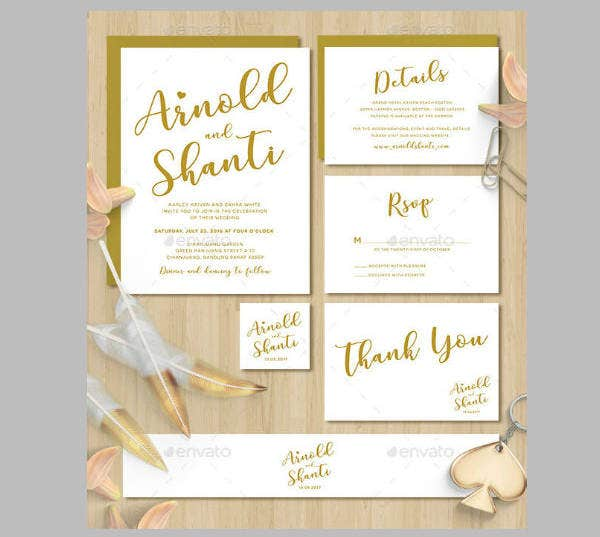 simple gold wedding invitation template1