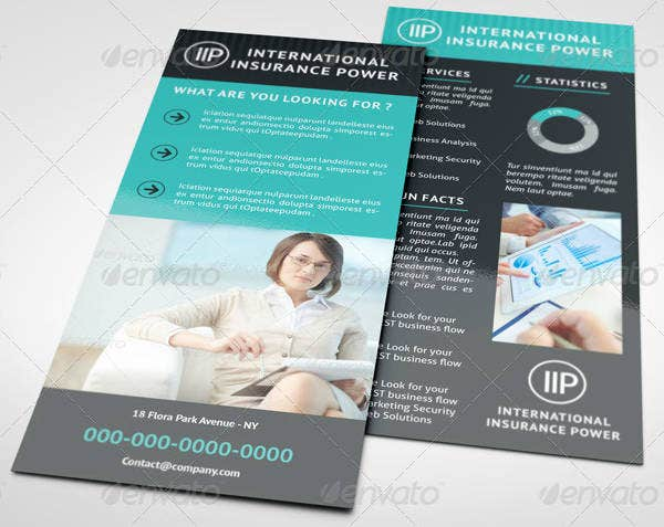 Simple Insurance Business Rack Card Template