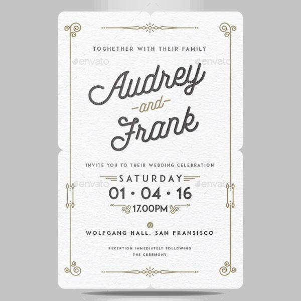 Simple Letterpress Wedding Invitation Card Design