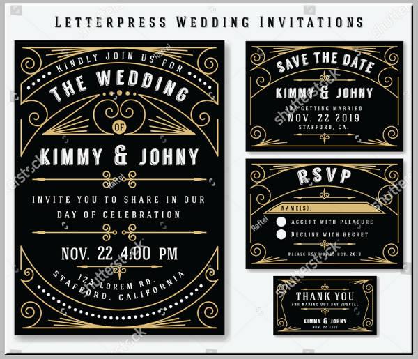 Simple Letterpress Wedding Invitation Example