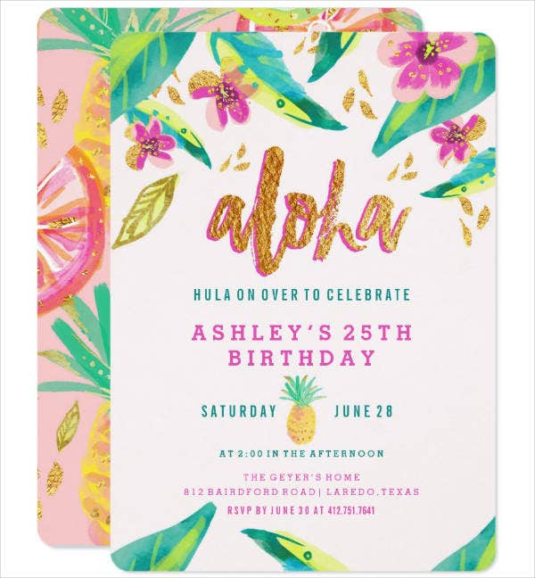Simple Luau Party Invitation Template
