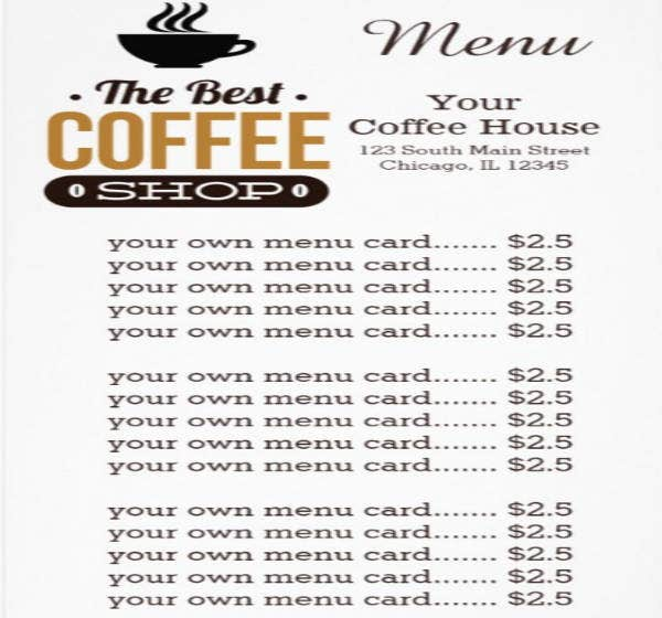 Simple Menu Card for Coffee House