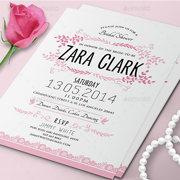 Simple Modern Bridal Shower Card Template