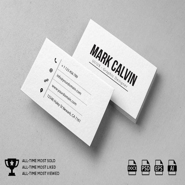 Simple Personal Business Card Example