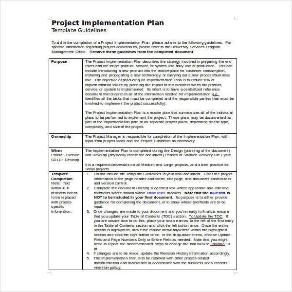 11  implementation plan templates