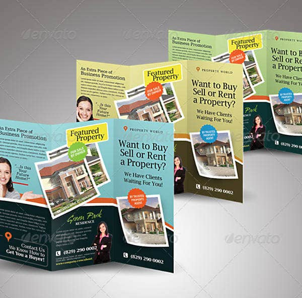 simple real estate trifold brochure