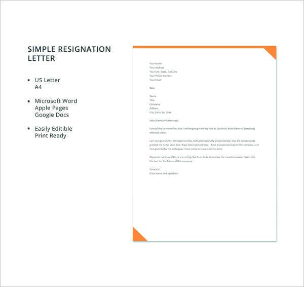 resignation letter template simple pdf