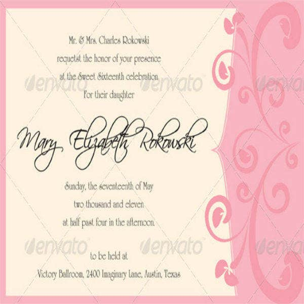 Simple Sweet Sixteen Invitation Template