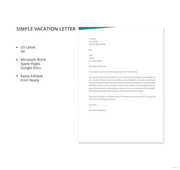 15 vacation letter templates pdf doc free premium templates simple vacation letter template spiritdancerdesigns