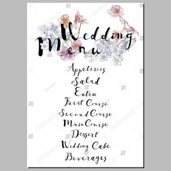 Simple Vector Wedding Menu Template